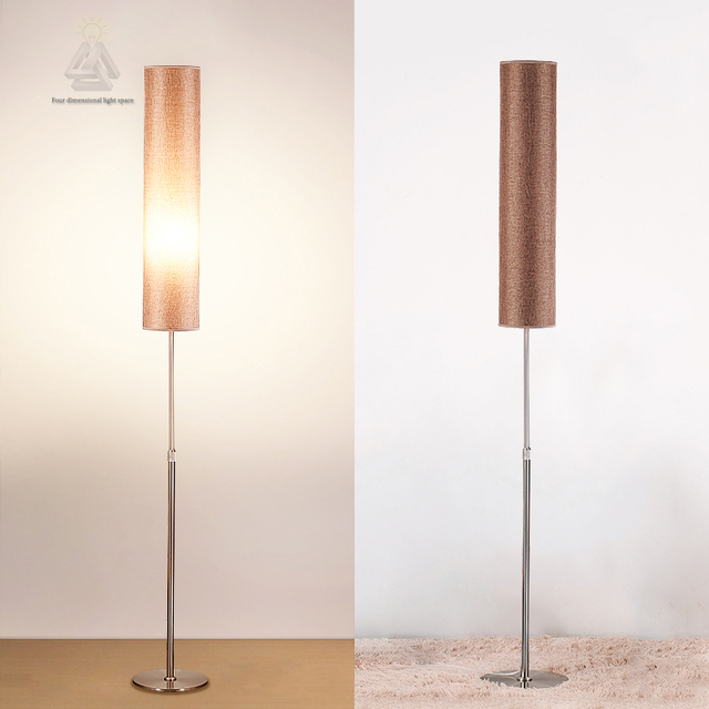LED Nordic Floor Lamp Adjustable Height Stainless Steel And Clothing  Material Vertical Indoor Lighting E27 Socket