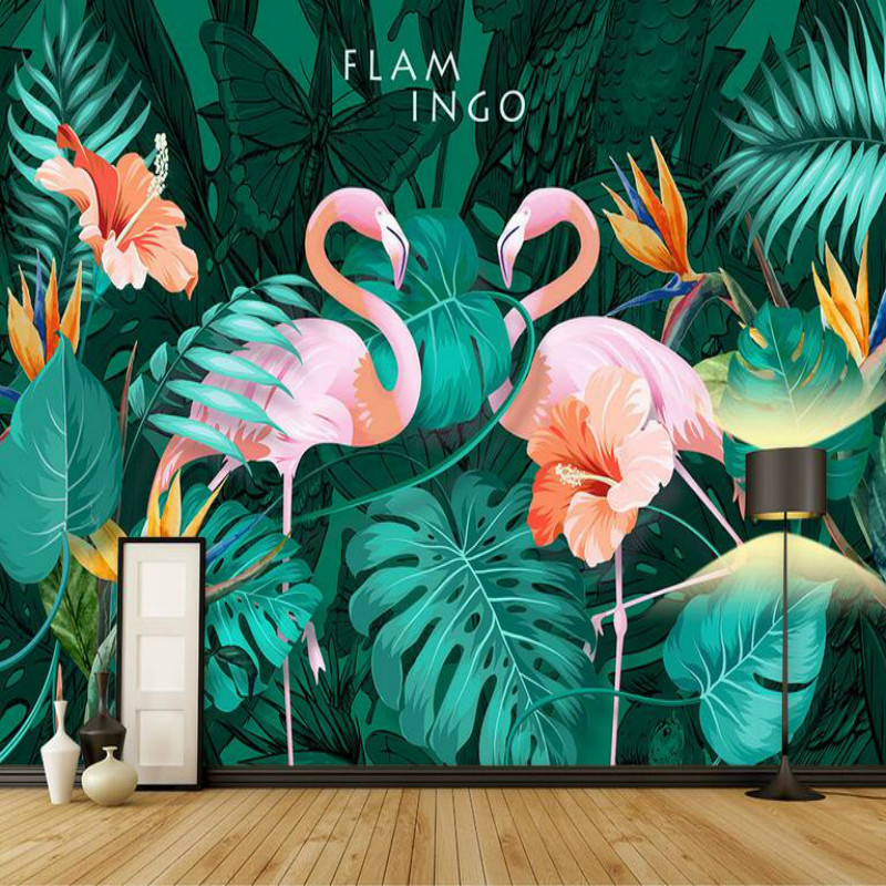 3d Wallpaper Living Room Modern Wallpaper Background Wall Painting Mural Silk Nordic Hand-painted Tropical Flamingo Wallpapers pure hand painted oil painting fashion home decorations modern minimalist frameless painting flower painting the living room ele