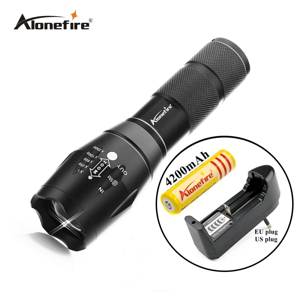 AloneFire G700 Cree XM-L T6 2000Lm focus adjustable E17 Outdoor camping tactical led flashlight torch lamp+1 x 18650+charger outdoor camping cree xm l 2000lm waterproof 5 modes focus adjustable led flashlight torch light lamp with 18650 and bike clip