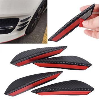 4 szt Przedni zderzak samochodowy z włókna węglowego płyty prowadzące Wind Blade Spoiler Canards nadwozia zewnętrznego tanie i dobre opinie carbon fiber front bumper guide plates