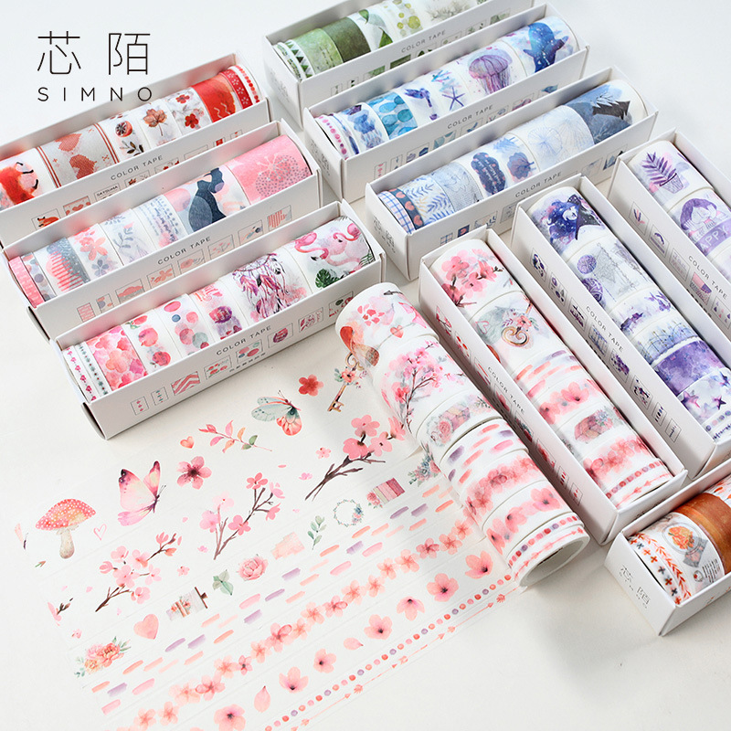 8pcs/pack Flowers And Whale Washi Tape Adhesive Tape Diy Scrapbooking Sticker Label Masking Tape