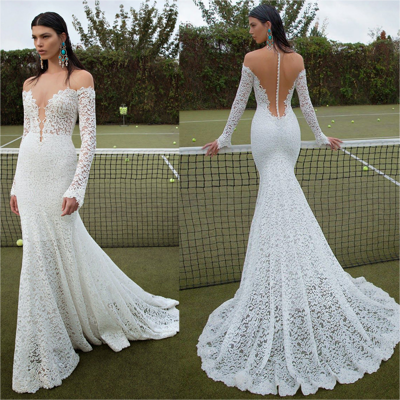 Buy custom made long sleeves lace mermaid for Plus size mermaid wedding dresses with sleeves