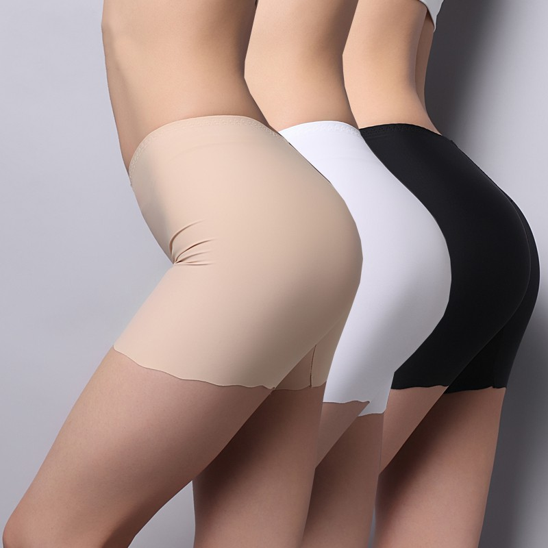 2019 New Boxer Femme Nylon Prevent Exposure Mid Waist Seamless Ice Silk Panties High Waist Stretch Solid Safety Short Pants