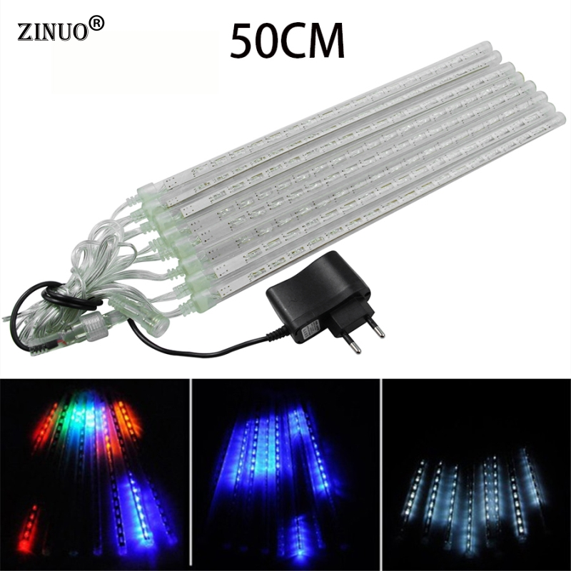 ZINUOMulti-color 50CM Meteor Shower Rain Tubes AC100V 220V LED Christmas Lights Wedding Garden Xmas String Light Outdoor EU Plug ...