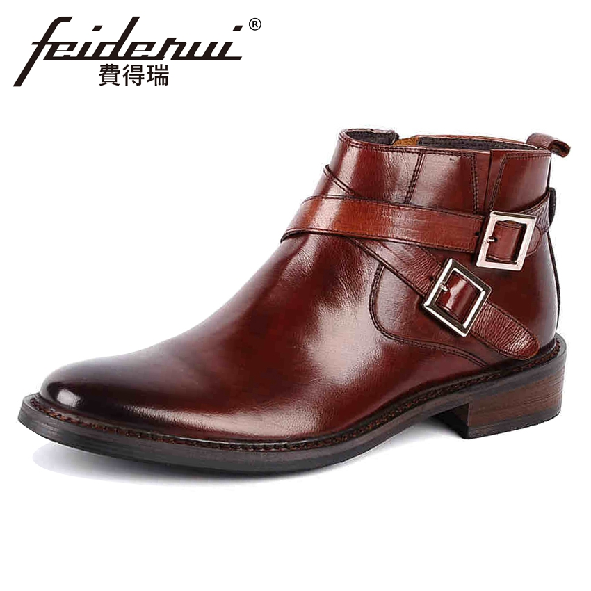 Fashion British Style Genuine Leather Men's Martin Ankle Boots Round Toe Zip Handmade Cowboy Formal Dress Shoes For Man YMX43 apricot fashion round neck zip front bodycon cami dress