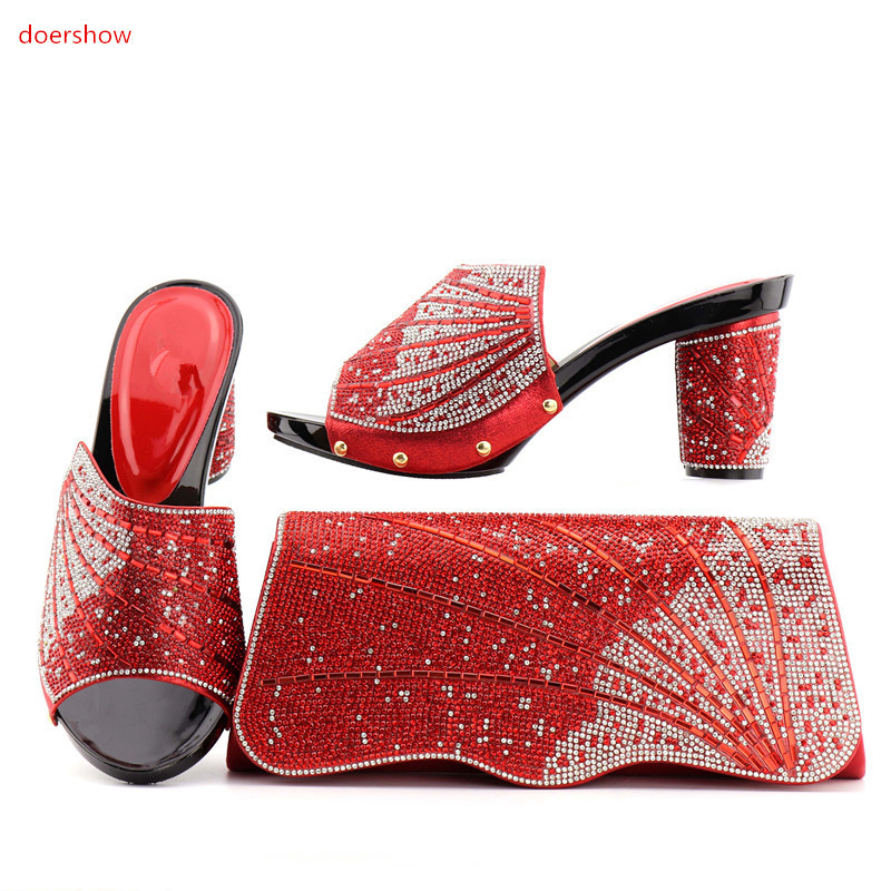 doershow Hot Selling red Shoes And Bags To Match African Shoes and Bag Sets Italian Shoes Matching With Bags PAN1-6 beautiful italian shoes with matching bags to match new african shoes and matching bag sets for wedding doershow hvb1 49