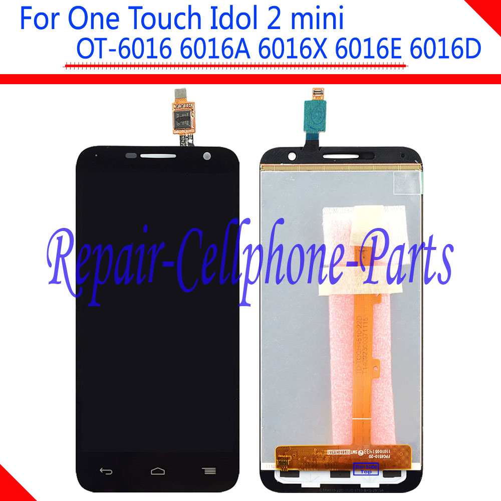 Black New Full LCD Display + Touch Screen Digitizer Assembly For Alcatel One Touch Idol 2 mini 6016 OT-6016A 6016X 6016E 6016D