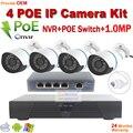 4CH PoE NVR CCTV System 1080P HDMI output 4pcs 1.0MP Waterproof IP Camera 4 Port POE Switch NVR kit CCTV Surveillance camera Kit