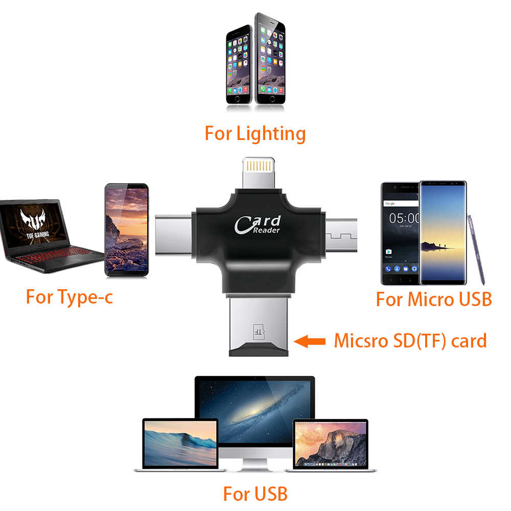 4 in 1 Card Reader ประเภท C อะแดปเตอร์ Micro USB TF Micro SD Card Reader สำหรับ Android iPad/iPhone 7 PLUS 6s5s MacBook