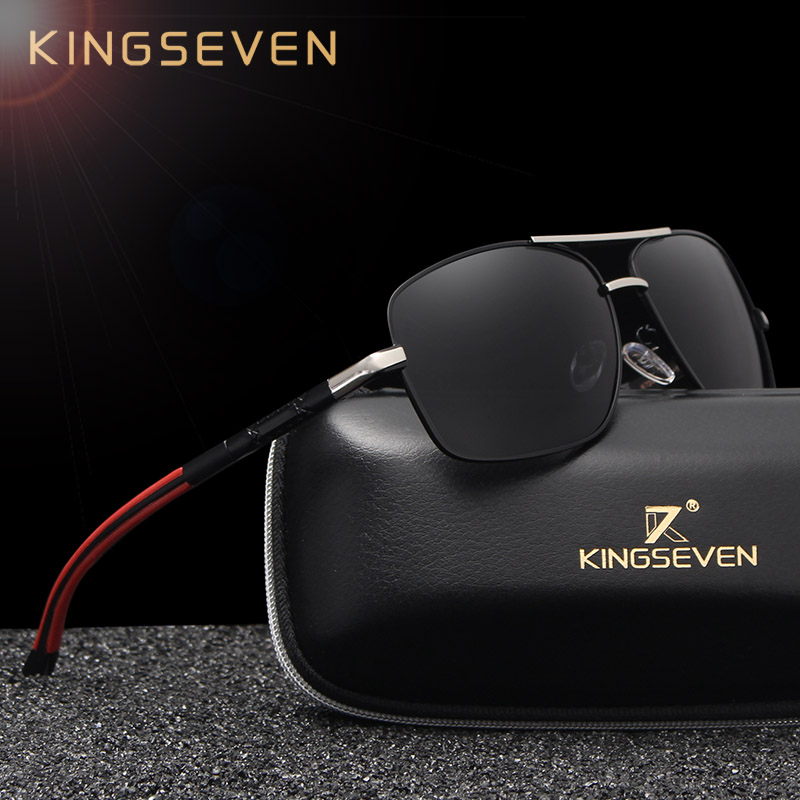 KINGSEVEN Brand Designer Men's Aluminum Magnesium Sun Glasses Polarized Mirror lens Male Eyewear Sunglasses For Men gafas