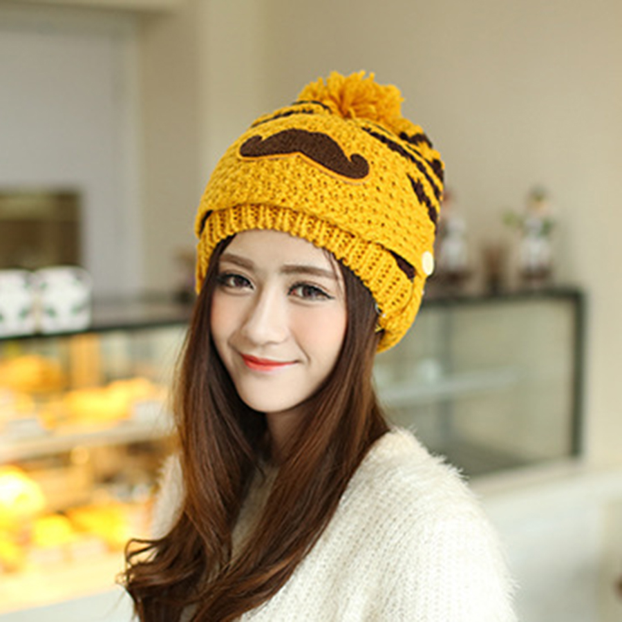 546ee2baf2b 2019 Knitted Hat Women Brand High Quality Winter Women Ball Ski Warmer Hat  PomPoms Hats knitted With Mask Mouth Parttern Beanies-in Scarf
