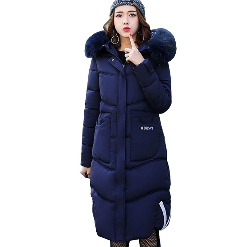 Winter Coat Women 2017 New Fashion Large Fur Collar Hooded Parka ladies Clothing Outwear Long Wadded Jacket Cotton Padded 3L82 women s clothing real fur collar winter jacket women 2015 new fashion thick winter coat female cotton padded jacket wadded coat