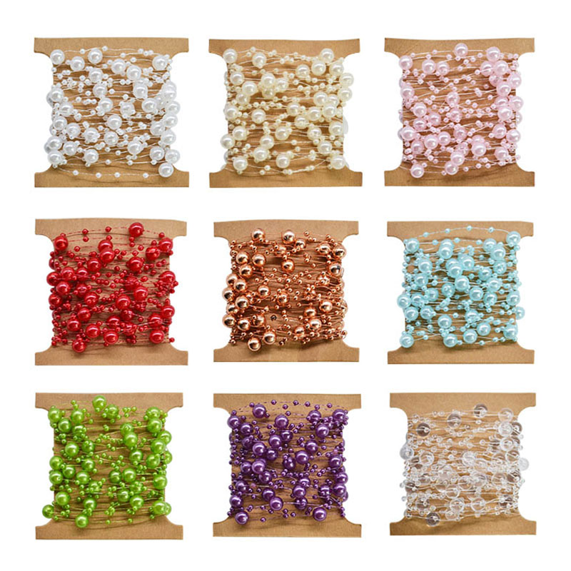 5M Fishing Line Artificial Pearls Beads Chain Garland Flowers Wedding Bridal Bouquet Flowers Wedding Party DIY Decoration