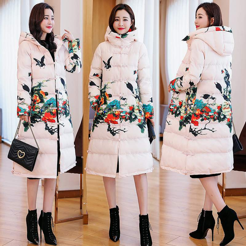 red Long parka jacket women plus size large thick warm coat winter hooded floral Chinese outerwear coats 2019 clothing PR499-in Down Coats from Women's Clothing    3