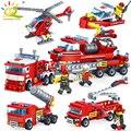 348pcs Fire Fighting car Helicopter boat Building Blocks Compatible legoed city Firefighter figure Bricks children Enlighten Toy