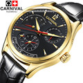 2016Carnival energy display Men automatic mechanical Watches Luxury Brand Waterproof Watch military genuine leather strap montre
