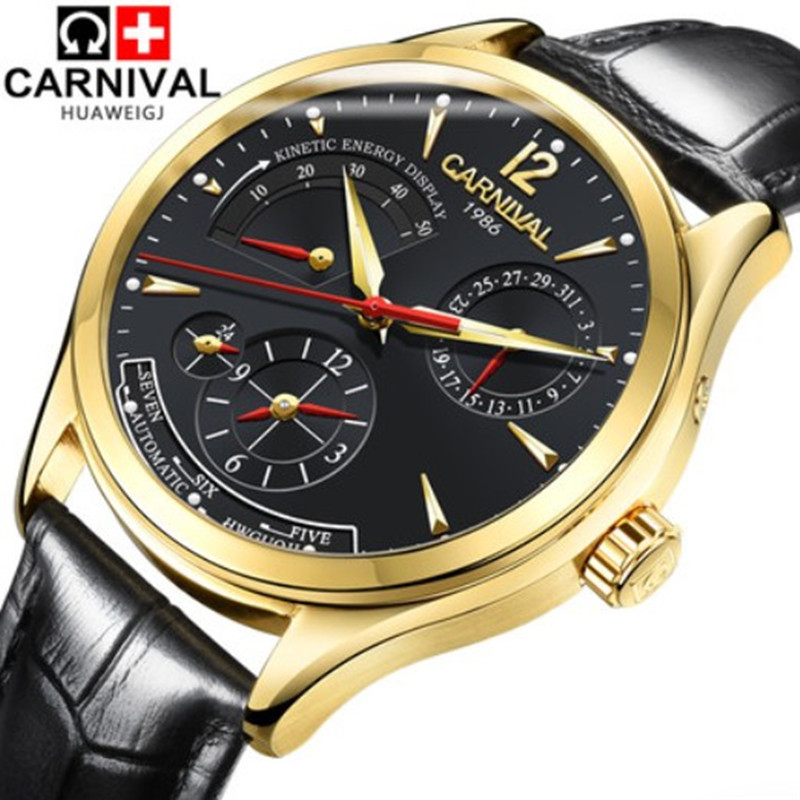 energy display Luxury brand Men Wristwatch sapphire genuine leather Automatic mechanical Watches Switzerland clock reloj hombre