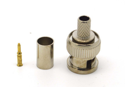 HJT BNC Male Crimp Plug For RG59 Coaxial Cable RG59 BNC Connector BNC Male 3-piece Crimp Connector Plugs AC23 Freeshipping