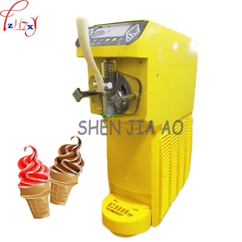 Black /yellow Color Commercial Soft Ice Cream Machine 16L/H Soft Serve Home Made Ice Cream Cone Machinery MK-4800  500W