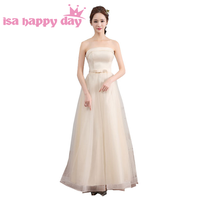 Vestidos De Casamento Tulle Braidsmaid Champagne Colored Bridesmaids Dresses 2018 From China Party Long Wedding Under 100 H3728