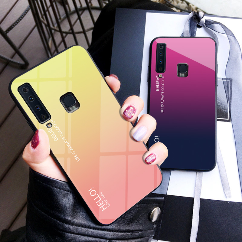 Gradient Tempered Glass Phone Case For Samsung Galaxy A8 A9 A5 A6 Plus A7 2018 A6S A8S A30 A20 A10 A50 A70 A20E Color Cover Case-in Fitted Cases from Cellphones & Telecommunications