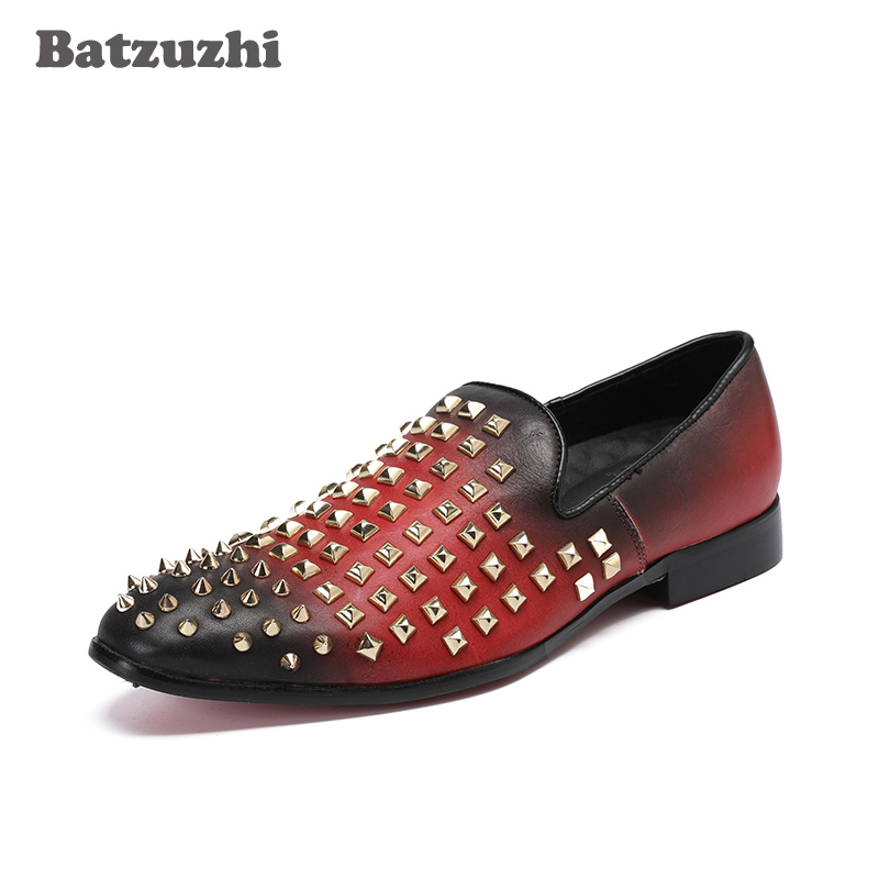 New Style Fashion Men Loafers Handmade Men Dress Shoes with Rivets Wine Red Party and Wedding Men's Flat Size US 6-12 Batzuzhi new style fashion men loafers gold embroidery handmade men velvet shoes party and wedding men s flat size us 6 14 freeshipping