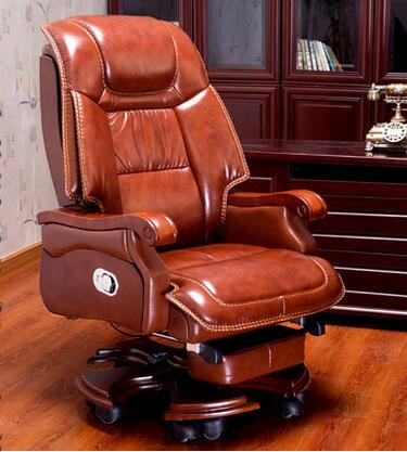 Boss Leather Reclining Massage Chair Home Office Computer Chair, Turn Wood Leather  Executive Chair