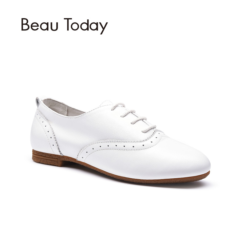 Beau Today Genuine Leather Oxfords Shoes Women Brogue Style Spring Autumn Lace-Up Round Toe Cow Leather Ladies Flats 21012 qmn women brushed leather platform brogue shoes women round toe lace up oxfords flat casual shoes woman genuine leather flats