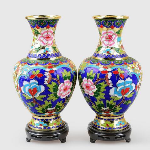 Luster Cloisonne cuivre de 6-15 pouces | 2 pièces de hauteur, filiforme de cuivre foetal Mottled, Vase à col de bouteille patiné, outils d'artisanat pour la décoration de mariage