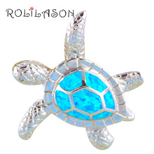 3.87g Amazing Tortoise Trendy Blue fire Created opal 925 sterling silver necklace pendant gorgeous jewelry for women SP13