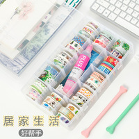 PP Transparent Washi Tape Box Stationary Storage Box Washi Tape Set Tools Scrapbooking Stationery Accessories