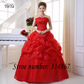 Free Shipping Red Wedding Dresses Bandage Wedding Dress Vestidos De Novia Brial Gown Strapless Wedding Frocks Bubble Skirt DL003