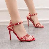 10cm High Heels Women Rivet Ankle Strap Heels Summer Gladiator Sandals Women High Heel Sandals Fashion Open Toe Red Sandals 2019