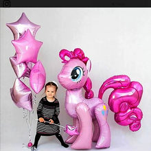 MMQWEC 1PC 100*97CM Pink Little Horse Pony Unicorn Foil Balloons Birthday Unicorn party Helium Balloons Kids Animal Toys Globos(China)