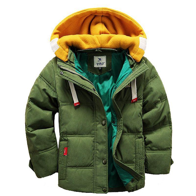 2018 Bebé Ropa niños chaqueta de invierno prendas de abrigo Patchwork con capucha  Chaquetas niños para niños niñas abajo 4 color 1ed2626b0aec