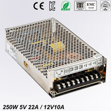 цена на Best quality double sortie 5V 12V 250W Switching Power Supply Driver for LED Strip AC100-240V Input to DC 5V 12V free shipping
