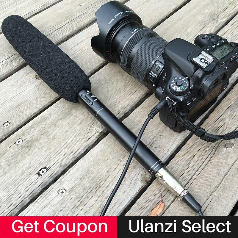 Ulanzi Long-Stick Shotgun Media Condenser Interview Microphone microfone for Canon Nikon DSLR camera for iPhone Samsung Android