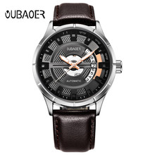 цена на 2018 Fashion Men's Watches Top Brand Automatic Mechanical Watch Leather Casual business Watch Male Clock Relogio Masculino