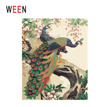 WEEN Peacock Diy Painting By Numbers Animal Oil On Canvas Flower Tree Cuadros Decoracion Acrylic Wall Art Home Decor
