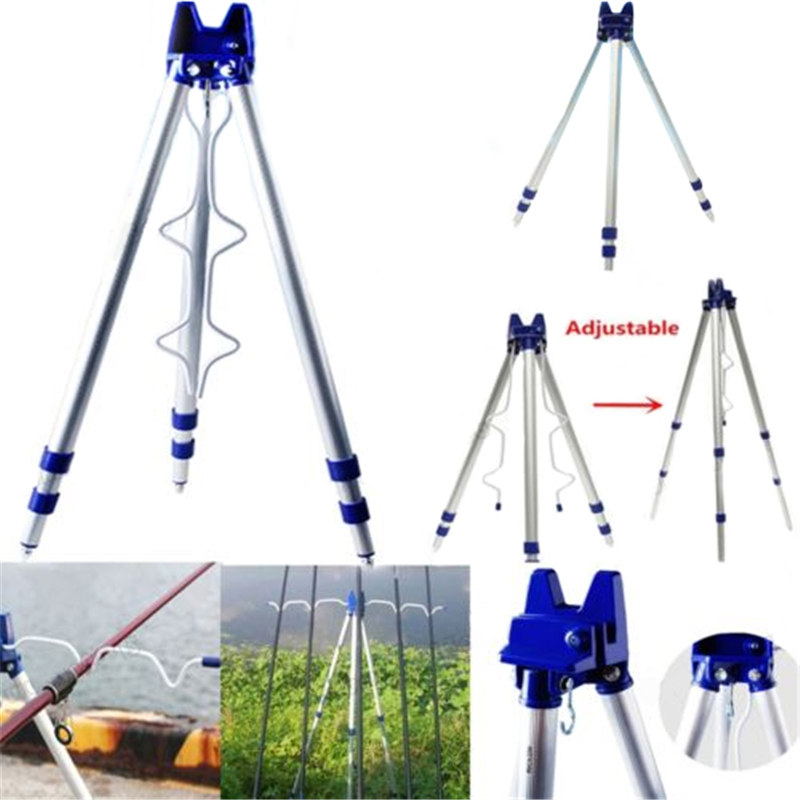 Outdoor Sea Beach Fishing Rod Rests Tripod Stand Holder 3 Telescopic Legs Support 5 Rods Fishing Tackle Tools Accessory ilure rod butt support for boat rod jigging and popping rods full metal with eva comfortable rod holder sea fishing tools