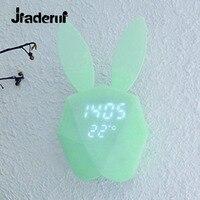 Jiaderui Cute Rabbit Bunny Digital Alarm Clock Novelty Alarm Clock Sound Night Light Rechargeable Thermometer Table