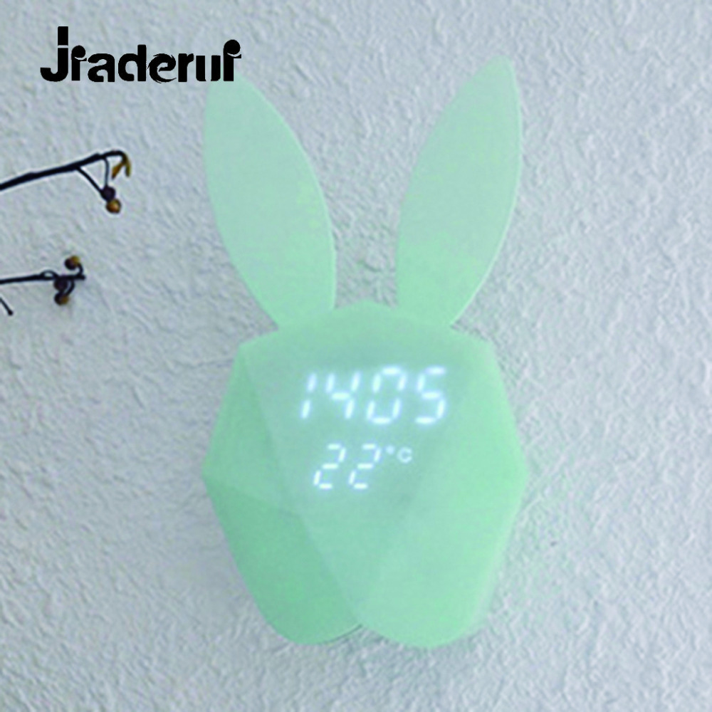 Jiaderui Cute Rabbit Bunny Digital Alarm Clock Novelty Alarm Clock Sound Night Light Rechargeable Thermometer Table Wall Clocks creative smart rabbit alarm clock lamp light rabbit shaped led music sound controlled night light for indoor decor drop shipping