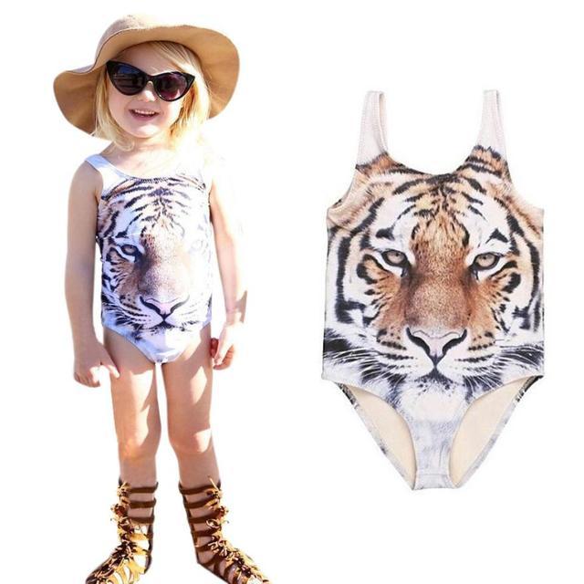 967fa25214a26 Baby Girl Swimwear 2017 Summer Girls Swimsuit Kids Bathing Suit Tiger  Pattern Children Swimwear for Girls Bikini Swim Wear