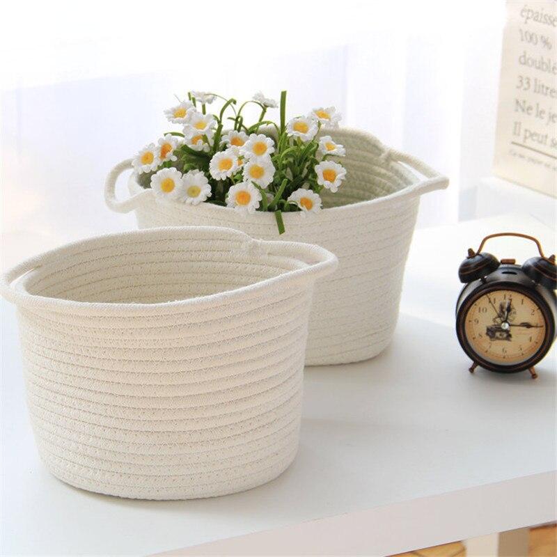 ROSEHOME Handmade Storage Boxes & Bins Cotton Rope Jewelry Holder White Cosmetics Toys Food Desktop Organizer Home Organization