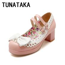 Ladies Cute Thick Heel Pumps Round Toe Mary Jane Shoes With Bow Lolita Princess Shoes Large Size Black Beige Pink