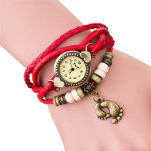Casual Fashion Design Watch Clock Weave Around Leather Footed Bracelet Lady Woman Wrist Watch Ladies Wristwatches