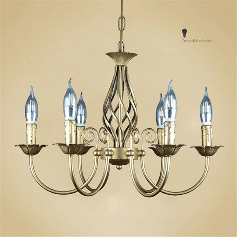 Image 3 - Vintage Wrought Iron Chandelier E14 Candle hanging Light Lamp Bronze Metal LED home Lights Fixture modern iron lustre promotiom-in Chandeliers from Lights & Lighting