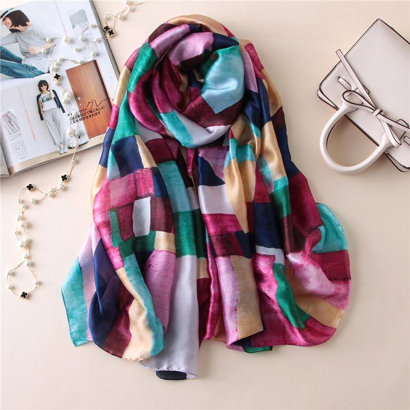 2019 luxury brand women silk   scarf   fashion soft lady   scarves   designer female shawls   wraps   long size foulard sjaal 180*90