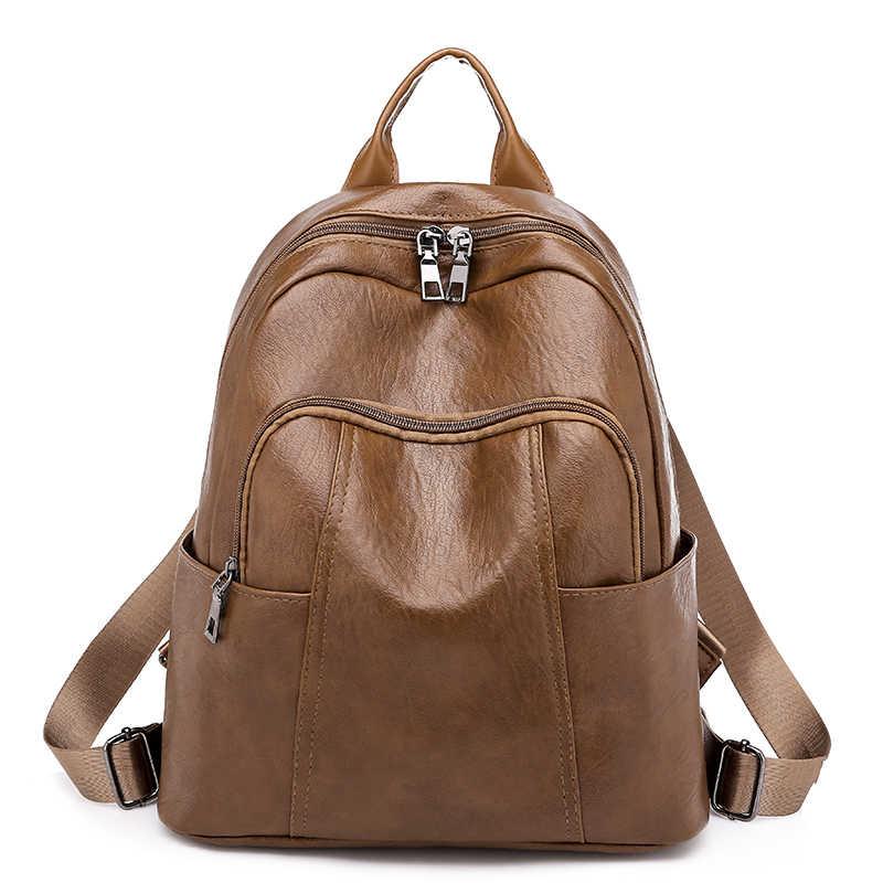 Рюкзак 2018 для отдыха женский модный рюкзак женский мини школьный женский Одноцветный Кожаный Рюкзак Винтажный Повседневный