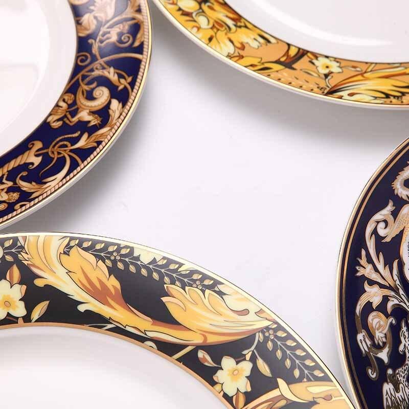 Os chine assiette dîner plat plateau de nourriture bord d'or Floral Western alimentaire Steak plat plat Banquet délicat dîner plateau pour cadeau 1 pièces - 5
